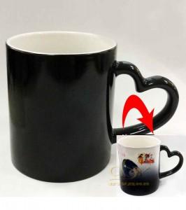 Кружка хамелеон (ручка - сердце, черная термокружка)